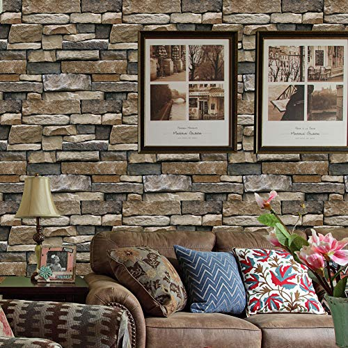 (6803 Vintage Faux Brick Wallpaper Rolls,Yellow/Dark Gray Rust Stone Stacked Wall Paper Kitchen TV Backgroud Home Decoration 20.8