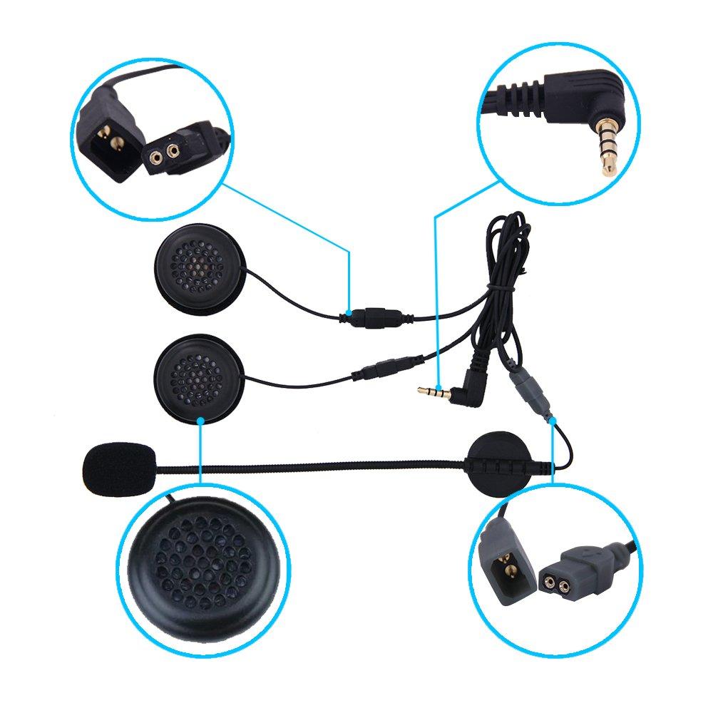 EJEAS/® E6 Casque de moto /à Casque Intercom sans fil pour six personnes 1200M Vox Bluetooth MP3 GPS avec programme de raccordement en