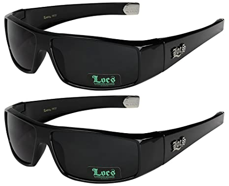 2er Pack Locs Sonnenbrillen Motorradbrille Sportbrille Radbrille - 1x Locs 9041 schwarz und 1x Locs 9052 schwarz yTjwvA5