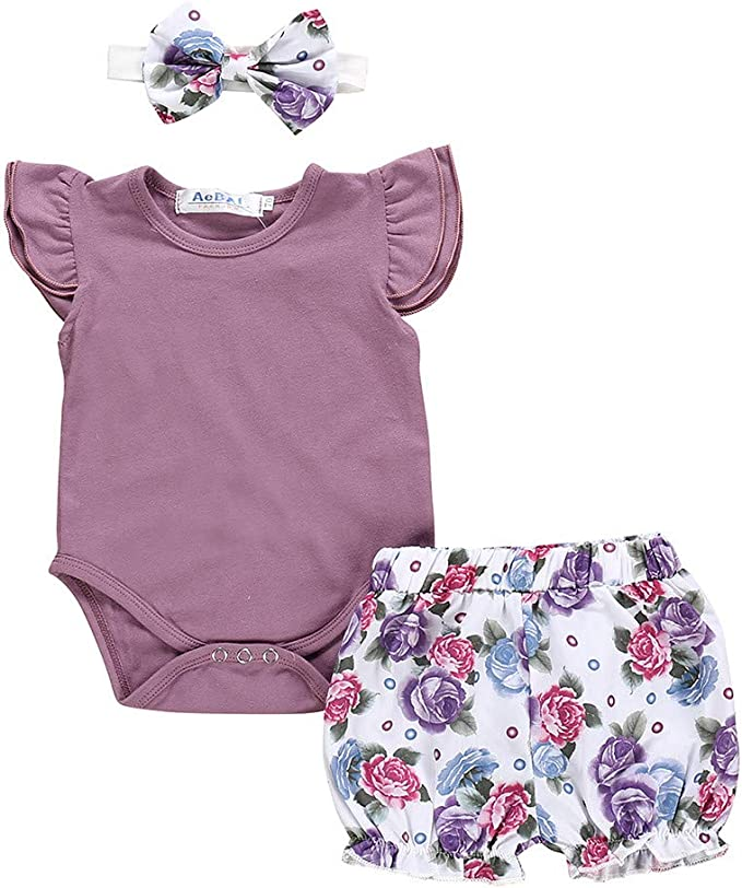Baby Mädchen Outfit mit Haarband Sommer Kleidung Strampler Overall Bodysuit