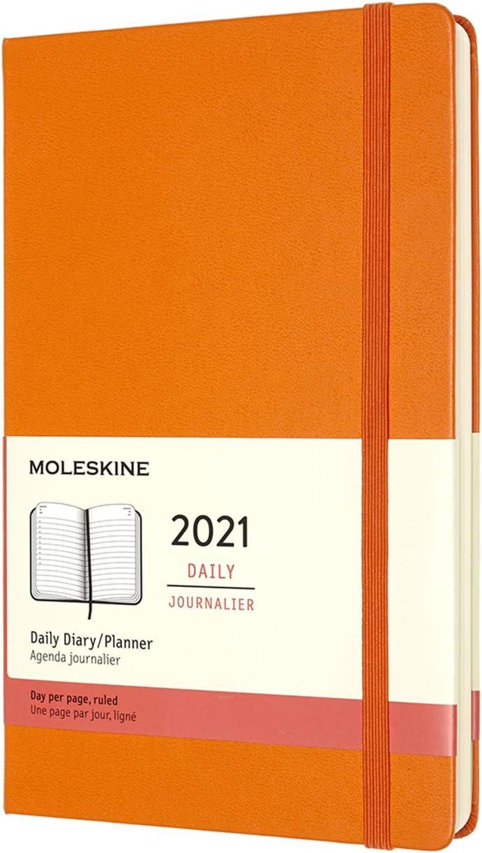 Copertina Rigida Formato Large 13 x 21 cm Agenda Settimanale 12 Mesi 2021 Moleskine Weekly Planner e Notebook Arancio Cadmio 144 Pagine