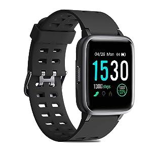 CHEREEKI Reloj Inteligente, Smartwatch Impermeable IP68 Pulsera Actividad 1.3 Pulgada con Monitor de Ritmo cardíaco, Podómetro, Control de música, Reloj...
