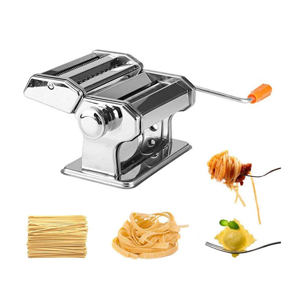 2 Klingen Frische Nudelmaschine Teigrolle zum Spaghetti und Lasagne Tagliatelle Fettuccine Nudelmaschine Nudelschneider Edelstahl Handbuch