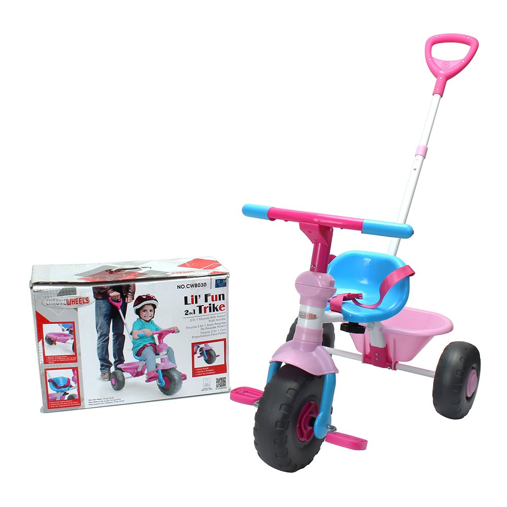 Kids' Tricycle, with Pushing handle and Grow-with Seat for 1-3 years old Toddler,Pink