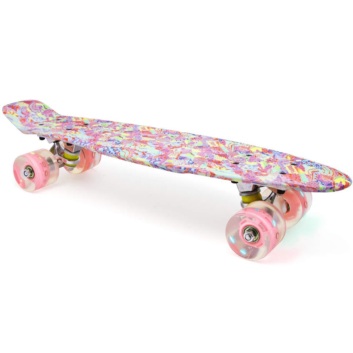 M Merkapa Skateboards with Colorful LED Skateboard Wheels - Great Skateboards for Kids to Adults, Beginners to Skateboarders(Sweet Pink)