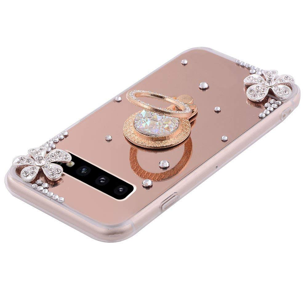 PHEZEN Compatible with Samsung Galaxy S10 Plus Case Crystal Rhinestone Soft TPU Rubber Bumper Case Bling Diamond Glitter Makeup Mirror Back Case with Ring Stand Holder for Galaxy S10 Plus,Rose Gold
