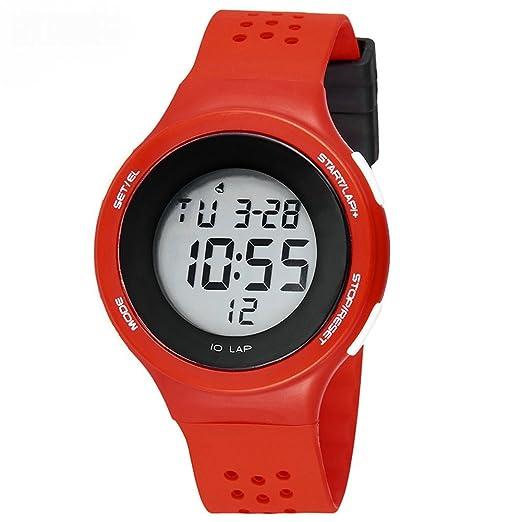 Niños reloj digital, LED impermeable reloj deportivo niños niñas para edades 5 - 13 con alarma calendario luminoso poroso transpirable de la pulsera: ...