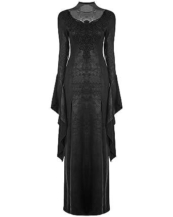 e0fa5377472 Punk Rave Gothic Witch Maxi Dress Long Black Cracked Embroidered Occult  Vampire  Amazon.co.uk  Clothing