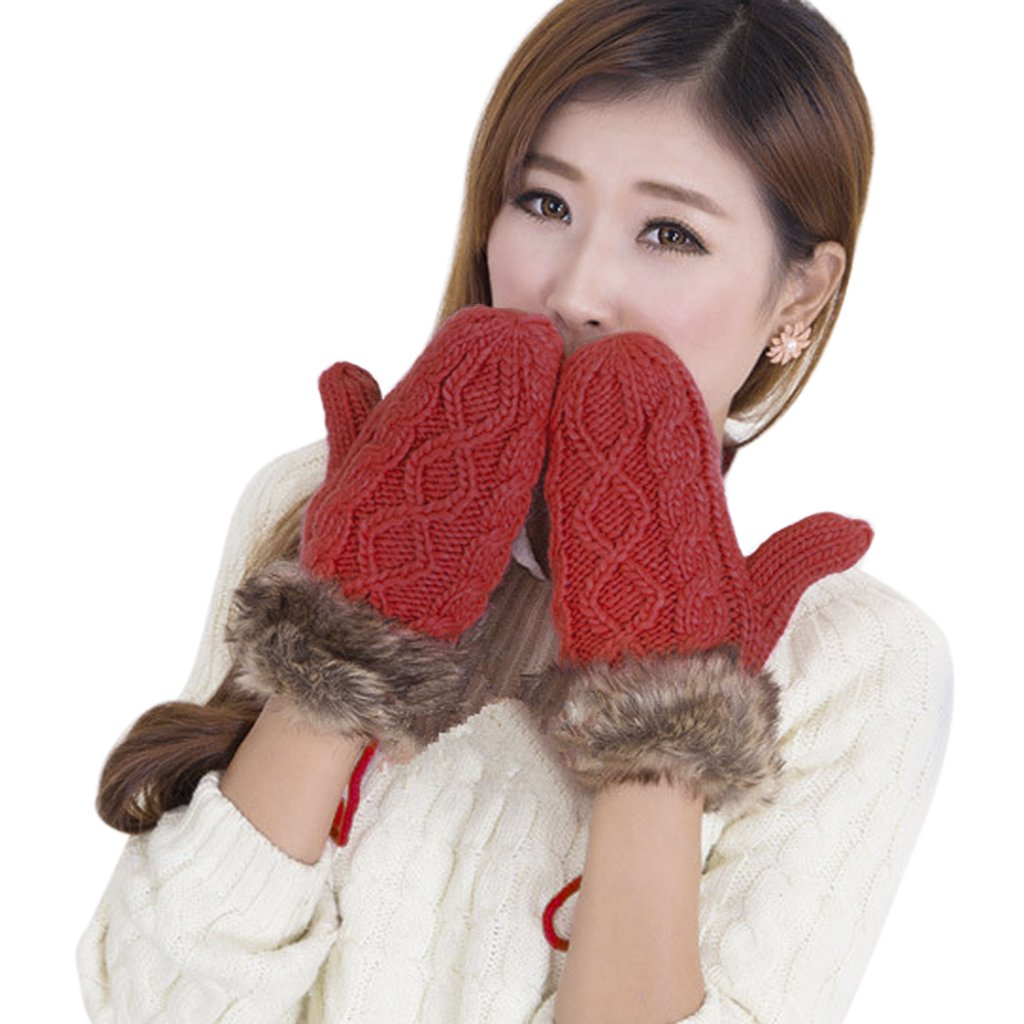Adults Winter Gloves with String Women Girls Thick Hang Neck Gloves Knitted Wool Full Finger Mitten Soft Warm Windproof Outdoor Hand Warmer for Snowboard Running Shopping Ski Xmas Gift