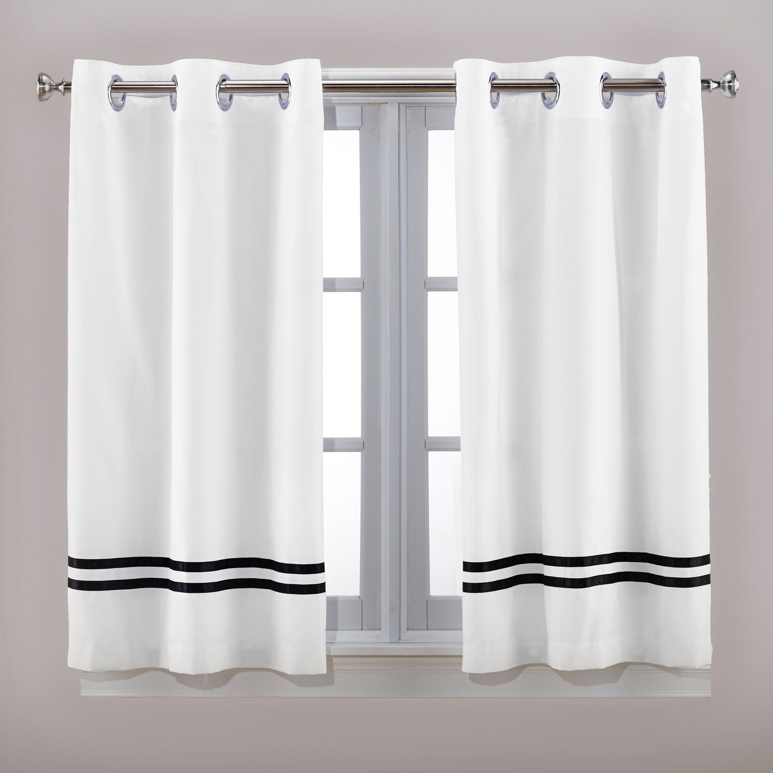 Hookless Special Size Shower RBH40WP962 Tuxedo Polyester with Flex-On Rings Window Panel Curtain, White with Black Stripe
