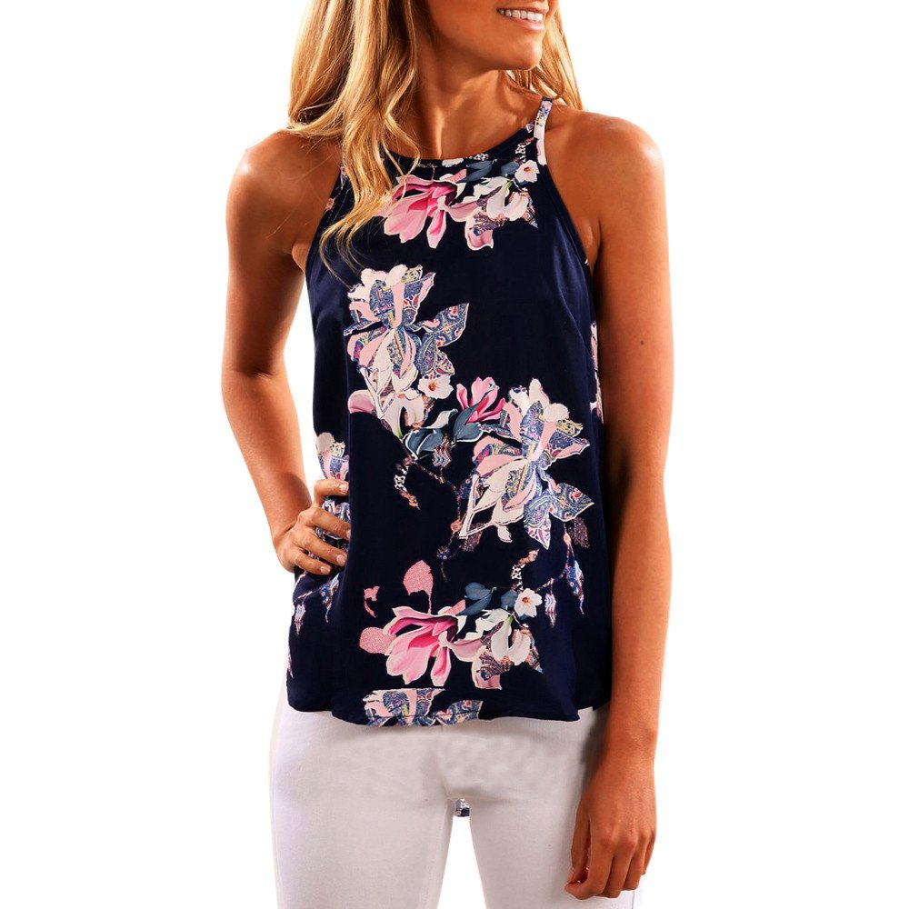 TIFENNY Women Sleeveless Flower Printed Casual Blouse Vest Top, (S, Dark Blue)