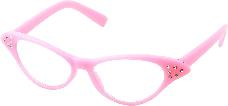 50's Kids Nerd Cat Eye Glasses Girls Costume Children's (Age 3-12) (Pink)