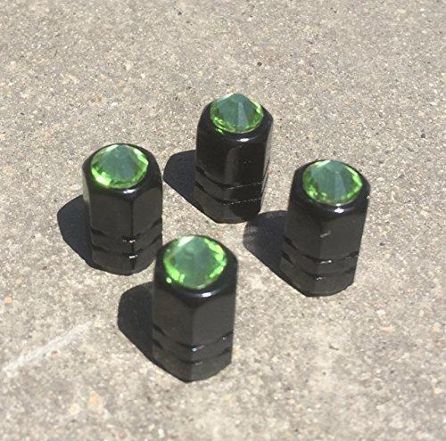 zusooz Rhinestone Set of 4 Tire Valve Stem Cap, Black Bling Car Accessory, Alloy with O Ring for snug fit, Wheel Air Stem Valve (Peridot Green)
