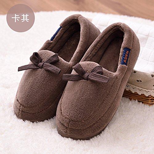 Y-Hui cotone pantofole scarpe Slip donna borsa invernale con morbide ciabattine alla fine della primavera e dell'estate,42-43 (Fit per 41-42 piedi),Khaki Boy
