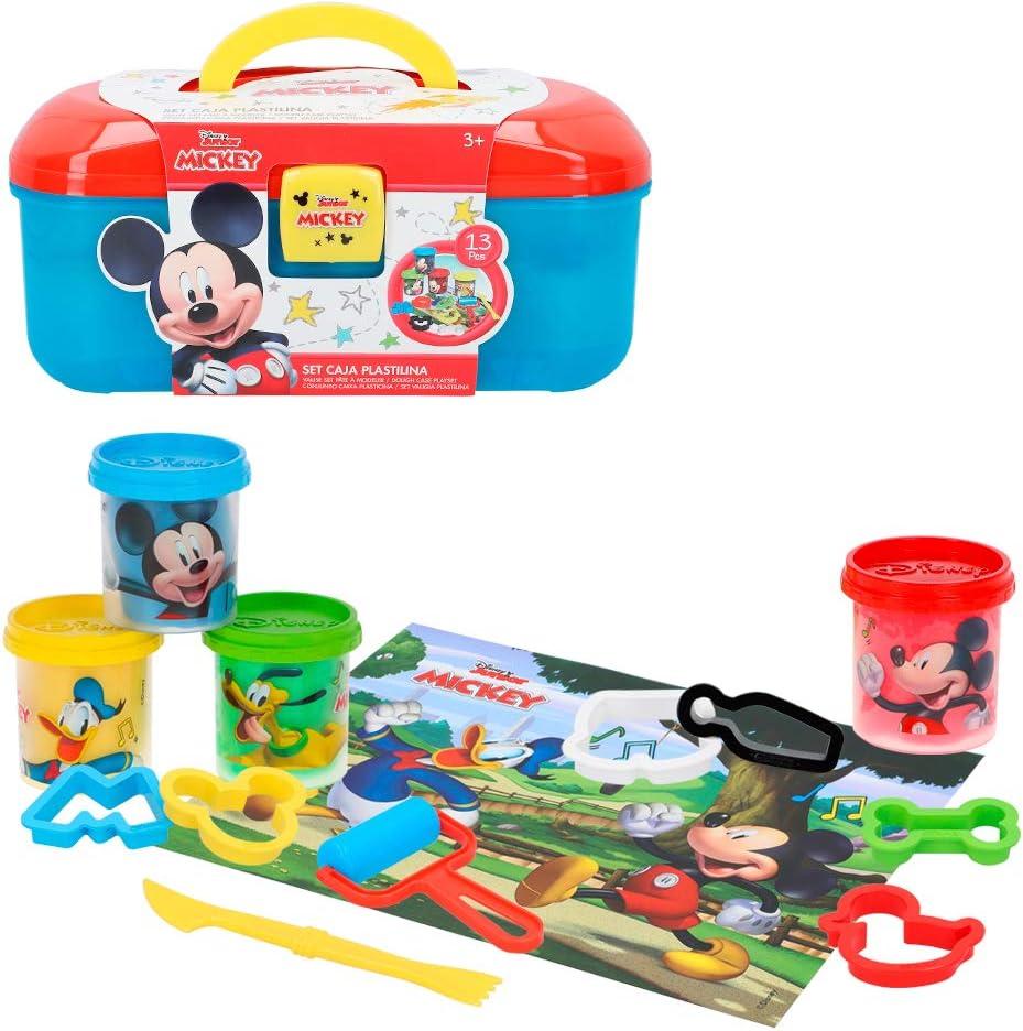 Disney - Botes plastilina niños 3 años Plastilina infantil No tóxica Juegos Plastilina niños Moldes y accesorios Juguetes educativos Maletín plastilina Disney Maleta Mickey Mouse