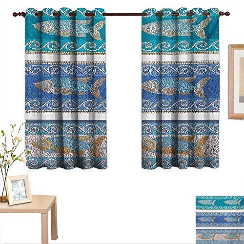 Mosaic Customized Curtains Ancient Style Byzantine Ceramics Inspired Maritime Fractal Fish Pattern Artwork 63