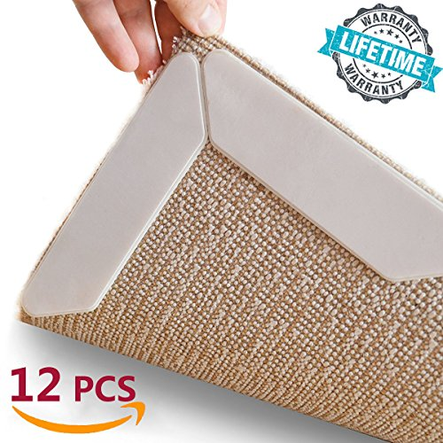 Rug Gripper, HAIOOU 12 pcs Non Slip Rug Carpet Grippers, Keep Carpet in Place and Corners Flat & Straight, Premium Bathroom Rug Grippers with Renewable Carpet Tape for Hard Floors - Your Life Saver!