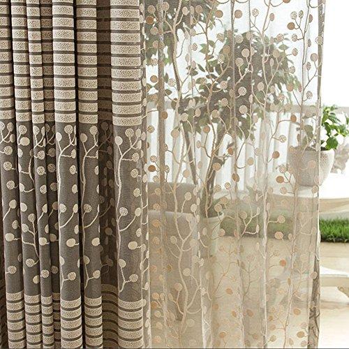 Norbi Best Home Leaf Print Tulle Window Curtain Sheer Inner