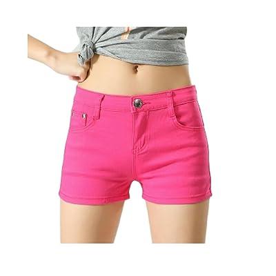 Abetteric Women Short Summer Shorts Skinny Summer Leisure Mulit Color Shorts Jeans Rose Red 2X