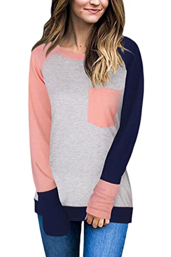 Mujeres Colorblock Patchwork Top Camiseta Blusa Manga Larga Pullover