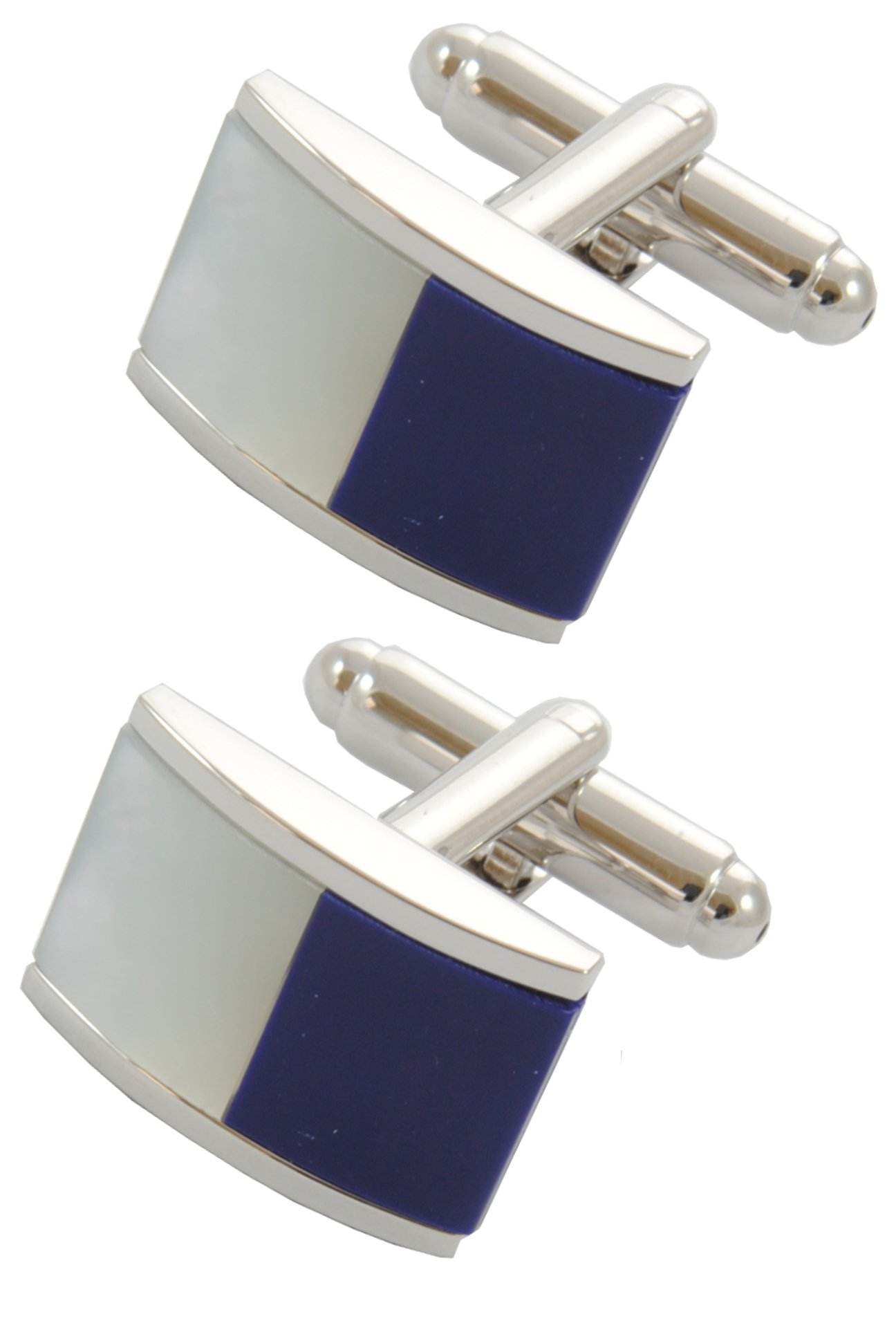 COLLAR AND CUFFS LONDON - Premium Cufflinks with Gift Box - Half Barrel Dual Colour Including Mother of Pearl - Classic Fashion Design - Blue and White Colours