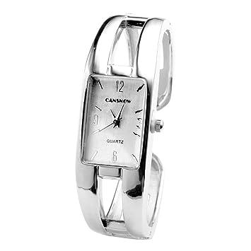 6f32a02a85 Women Silver Square Pure Colored Glaze Quartz Bangle Bracelet Wrist Watch /  A Stunning Open Bangle