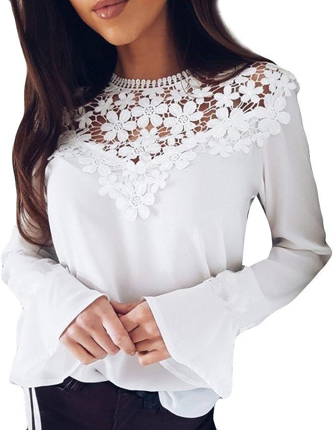 Amazon.com: Para mujer blusa, St.Dona venta caliente encaje ...