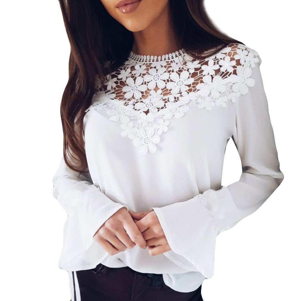 KaiCran Women Lace Blouse Fashion O-Neck Tops Long Sleeve Shirt Blouse (White, Medium)