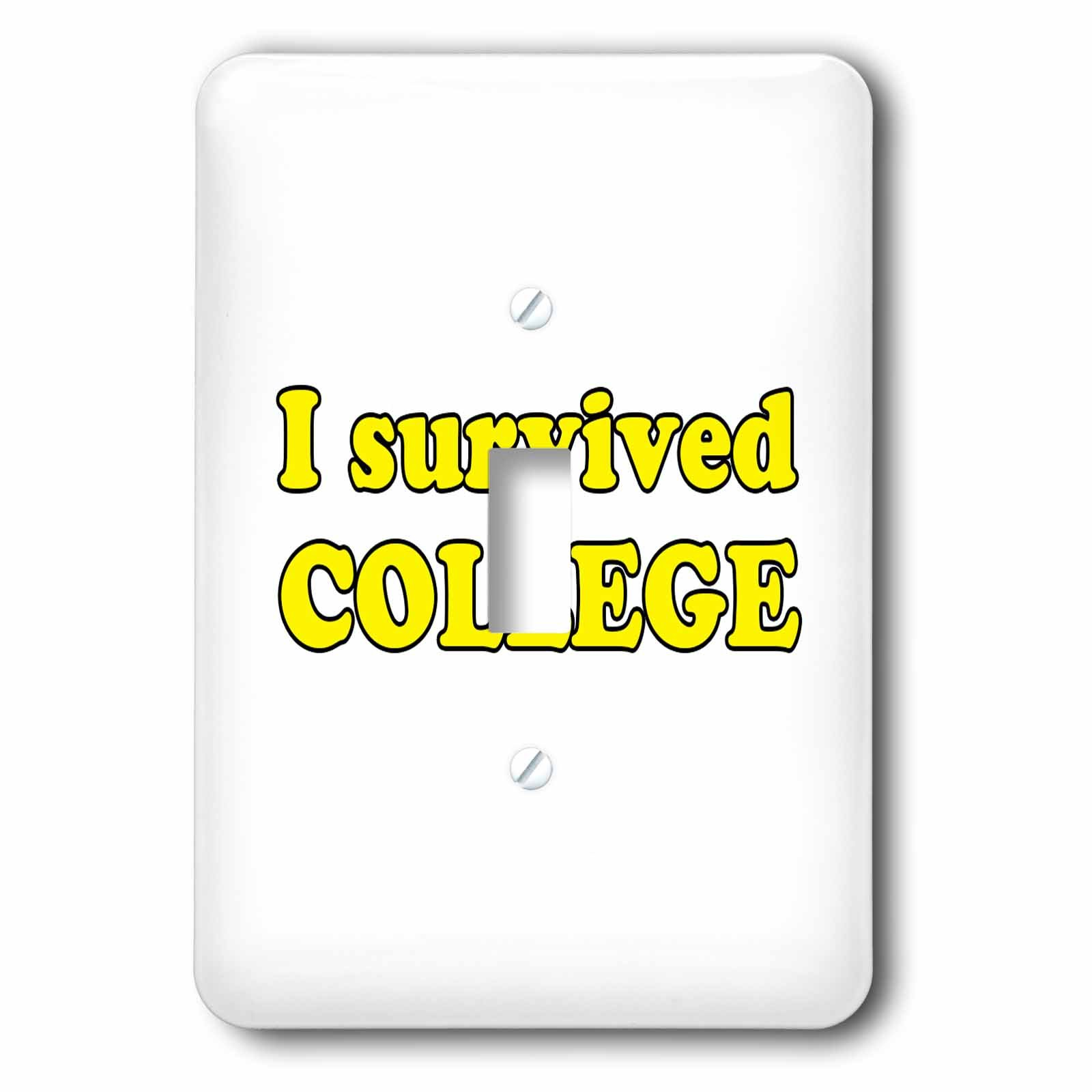 3dRose Student Humor - I Survived College Yellow - Light Switch Covers - single toggle switch (lsp_274510_1)