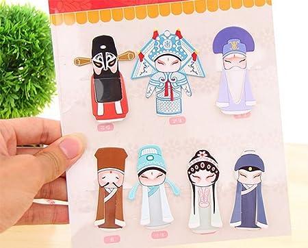 Chytaii 7pcs Marcap/áginas Marcador de Libro Oficina Adorno de Pl/ástico Perfectas como Decoraciones Forma de Personajes de Beijing Opera Estilo Chino Retro Multifuncional