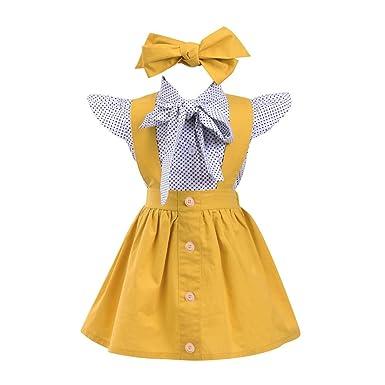963bf48385b0 Amazon.com  Lisin 3Pcs Toddler Infant Baby Girls Tops+Skirt+ ...