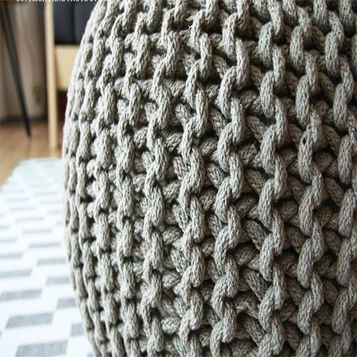CNC Washable Cover Knit Pouf With Wooden Top Table, Home Decoration, Side Table by CrossCrown (Image #2)