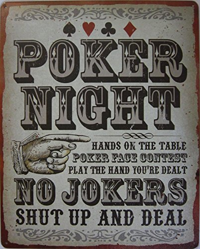 American Collectibles Poker Night Rules Shut Up and Deal Casino Gambling Gambler Metal Sign