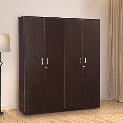 HomeTown Prime Melamine Faced Chipboard Four Door Wardrobe in Wenge Color