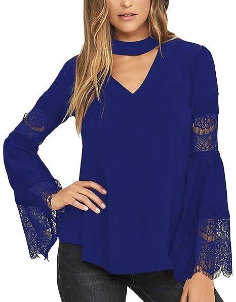 ae36cd332ea04e VamJump Ladies Lace Long Bell Sleeve V Cutout Neck Chiffon Tops and Blouses  Blue S