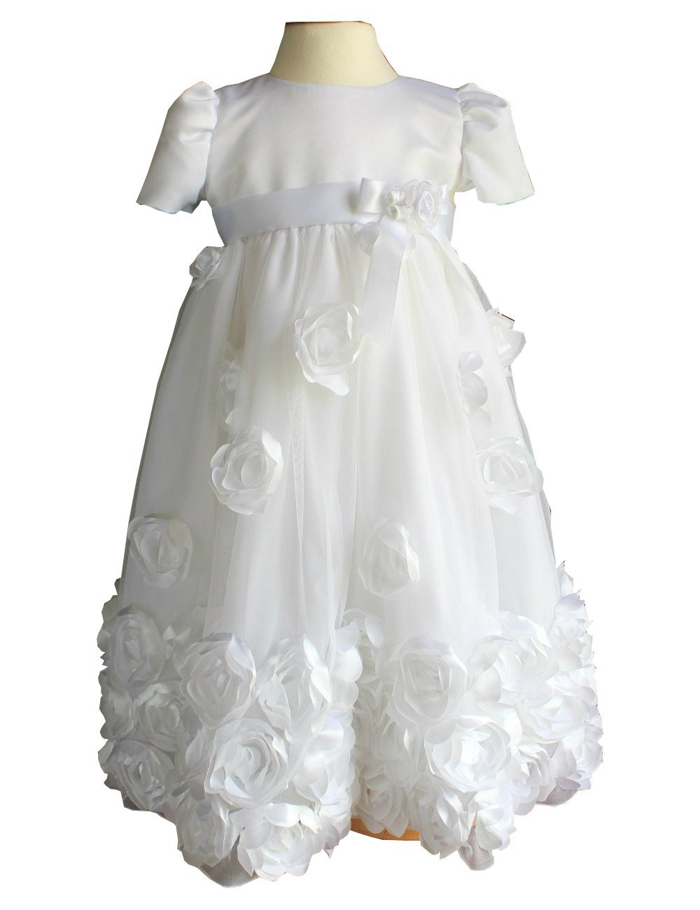 Fenghuavip Round Collar White Baby-Girls Christening Gowns (6-9 Months)