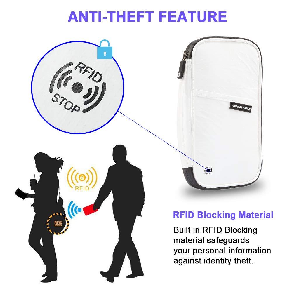 Chamch RFID Blocking Travel Wallet Document Organizer Bag Family Passport Wallet Passport Holder