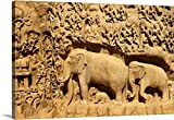 Huw Jones Premium Thick-Wrap Canvas Wall Art Print entitled Asia, India, Tamil Nadu, Mahabalipuram (Mamallapuram), Arjuna's Penance