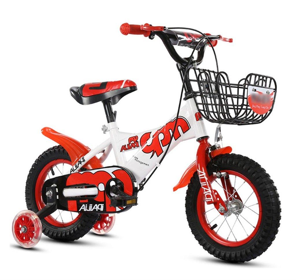 子供の自転車12|14|16|18インチアウトドアの子供ベイビーキッドマウンテンバイクフラッシュトレーニングホイールで2歳から10歳の男の子の女の子の贈り物|アイアンバスケット|調整可能なセーフロード100KG B078GMNT7T 16 inches|赤 赤 16 inches