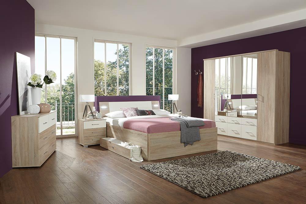 4-tlg-Schlafzimmer in Eiche sägerau-NB mit Abs. in Alpinweiß, Kleiderschrank B: 225 cm, Bett mit Schubkästen B: 180 cm, 2 Nachtschränke B: 104 cm