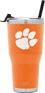 Simple Modern College 30oz Cruiser Tumbler with Straw & Closing Lid - Clemson Tigers - 18/8 Stainless Steel Vacuum Insulated NCAA University Cup Mug