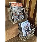 Cream Wire Basket Magazine Post Toiletries Stairs Storage Vintage Hamper Large by Homes on Trend