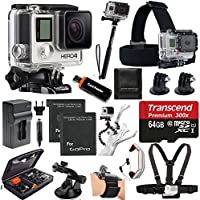 GoPro HERO4 Black Edition Camera HD Camcorder With Deluxe Carrying Case + Head Strap + Chest Strap + Suction Cup Mount + Wrist Strap Band +Monopod + 64GB SDHC MicroSD Memory Card Complete Deluxe Accessory Bundle