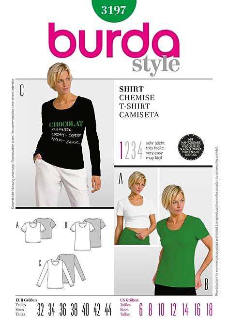Burda Craft Sewing Pattern 3197 - T-Shirt Sizes: One Size: Amazon.co ...