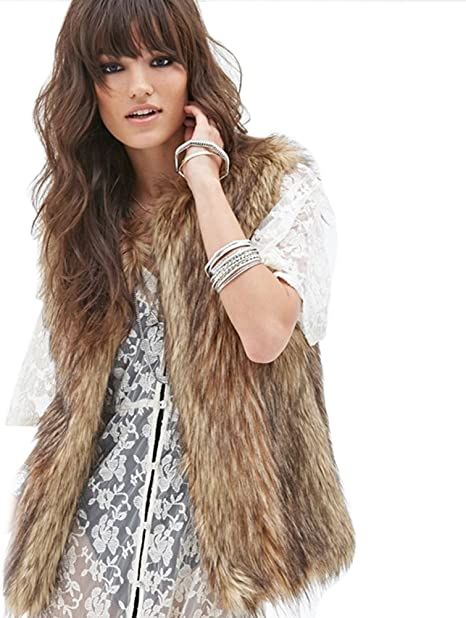 Dikoaina Fashion Women Faux Fur Waistcoat Short Vest Jacket Coat Sleeveless Outwear