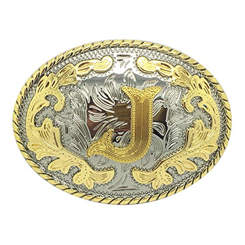 Western Belt Buckle Initial Letters ABCDEFG to Y-Cowboy Rodeo Gold Large Belt Buckle for Men and Women (J)