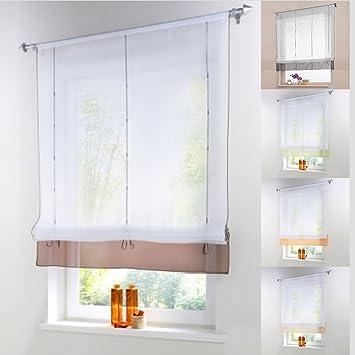 Amazon.de: Raffrollo Schlaufen Gardine Vorhang Transparent für ...