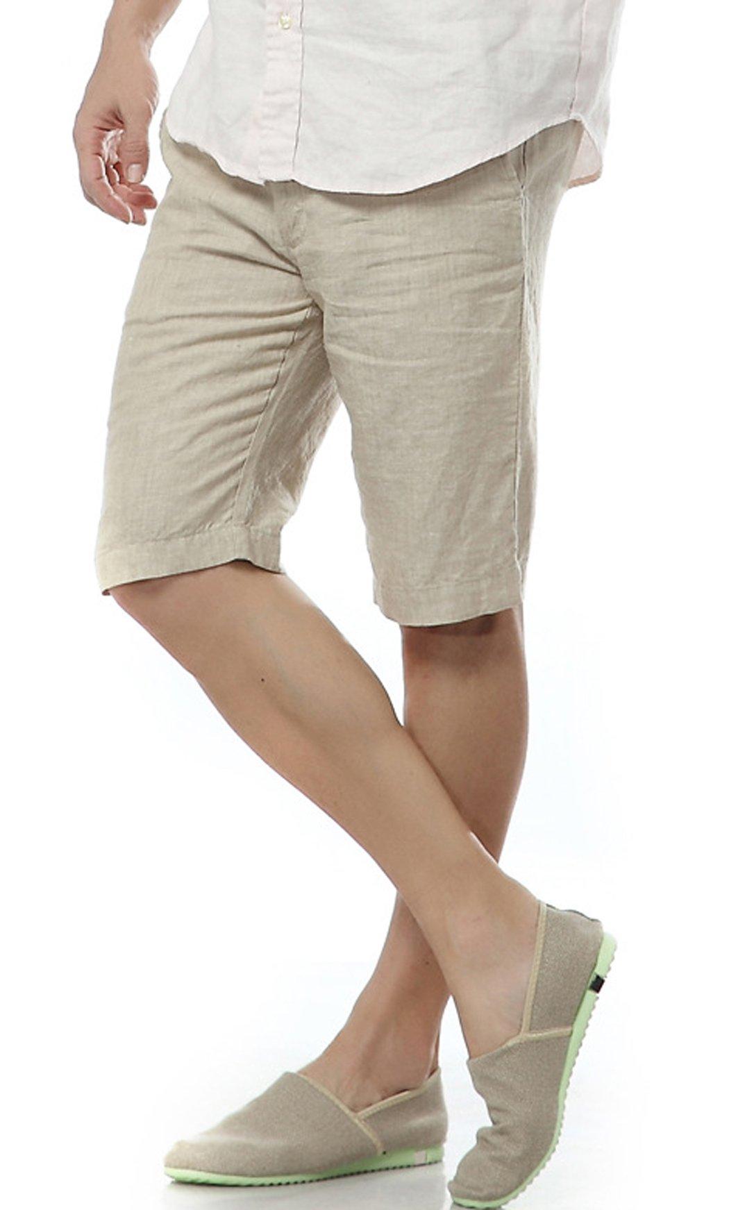 utcoco Men's Summer Straight Fit Flat-Front Linen Shorts (Medium, Khaki) by utcoco (Image #4)