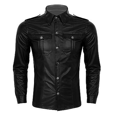 YiZYiF Chaqueta de Cuero Retro para Hombres Punk Camisa de ...