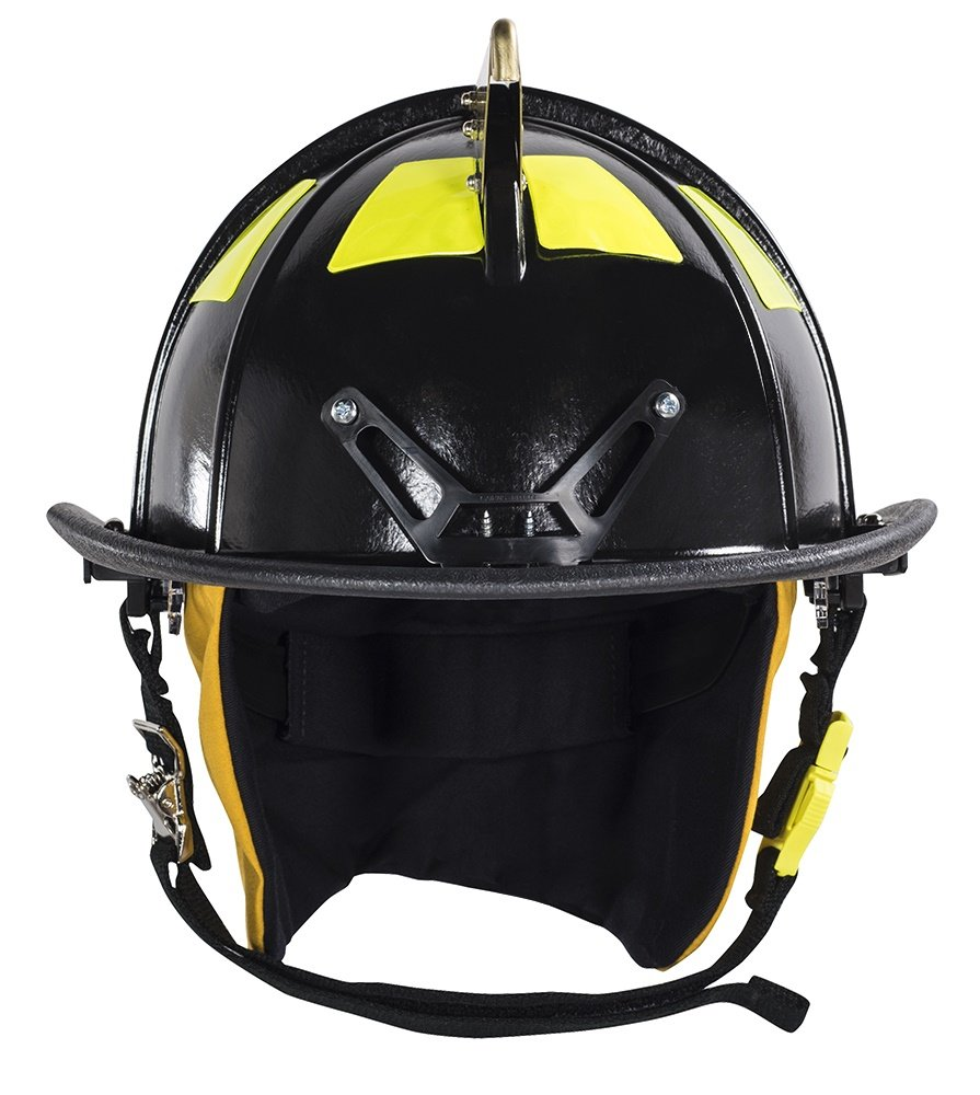 MSA Safety 1044DSB Cairns 1044 Traditional Composite Fire Helmet with Defender, Black, Nomex Earlap, Nomex Chinstrap with Quick Release & Postman Slide, Lime/Yellow Reflexite, 6'' Silk Screen Eagle